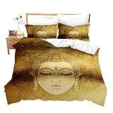 Erosebridal Goldenes Mandala-Bettwäsche-Set, 3-teilig,