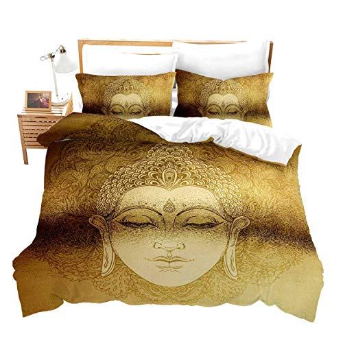 Erosebridal Golden Mandala Duvet Cover Queen Asian Culture Theme Decor Bedding Set 3 Pieces Exotic Retro Style Comforter Cover for Adult Women Teen Kids Ultra Soft Bedspread with Zipper Ties