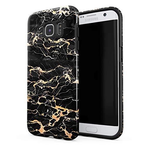Cover Universe Funda para Samsung Galaxy S7 Edge Black Onyx & Gold Strips Marble Print, Resistente a los Golpes, Carcasa Dura de PC de 2 Capas + Funda Protectora de Diseño Híbrido de TPU