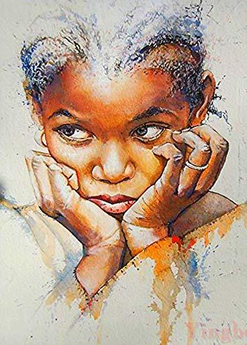 Kits de pintura de diamante para adultos nativo africano niña infeliz cuadrado completo taladro mosaico arte 5D punto de cruz para decoración de pared del hogar 30 x 40 cm
