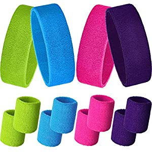 Bememo Sweatbands Set, Includes Sports Headband and Wristbands Sweatbands Colorful Sweatband Set for Men and Women (Rose Red, Fluorescent Yellow, Sky Blue, Purple)