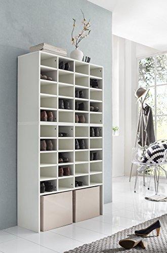 WILMES Dielenmöbel, Schuhregal, Wohnregal, Holz, Weiß Melamin Dekor, 33x91.5x164.5 cm