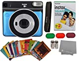 Fujifilm Instax Square SQ6 + Fujifilm Instax Square Instant Film (20 Sheets) Bundle with Sturdy Tiger Stickers + Deals Number One Cleaning Cloth (Metallic Blue)