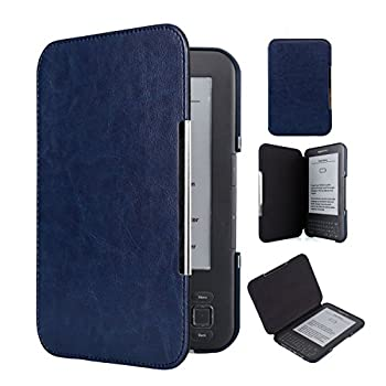 Kindle Keyboard PU Leather Case  Cover Book Style for Amazon Kindle 3rd Generation (2010  with Keyboard & 6  Display Dark Blue