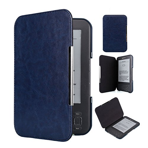 Kindle Keyboard 3rd Generation Case Book Style PU Leather Cover with 2 Pack Screen Protectors (Dark Blue)