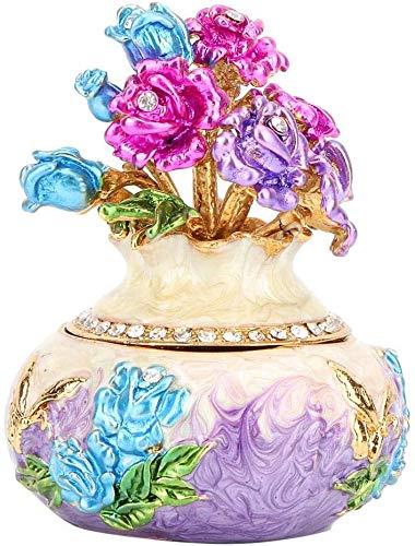 Atyhao Schmuckorganizer, handbemalt, emaillierte Vase, dekorativ, aufklappbar, Schmuckkästchen, Sammlerfigur, Box für Zuhause, Geburtstag, Violett