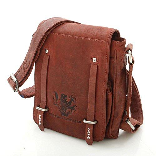 Feldmoser 1414 Unisex Klassisch Stylisch Umhängetasche Schultertasche Ledertasche Laptoptasche aus Leder (Rot, S)