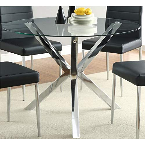 BOWERY HILL 41' Round Glass Top Contemperary Dining Table in Chrome