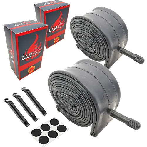 24 Inch Bike Tube 24 Bike Tube 24 x 1.95/1.75/2.10/2.125 Bike Inner Tube 2 Pack -Schrader Valve with 3 Tire Levers 6 Round Patches 24 Inch Bike Tube Butyl Rubber Compound-LLH2K