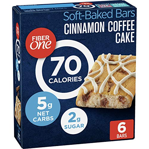 Fiber One 70 Calorie Bar, Cinnamon Coffee Cake, 6 Count,Pack of 8