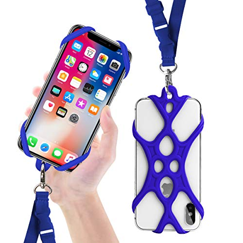 ROCONTRIP Custodia Telefono Imbracatura A Mano Libera Supporto Cordino per iPhone 6 6S 6 Plus iPhone 6S Plus, iPhone 7 And 7 Plus, Samsung, 4.7-5.5 Pollici, Silicone (Blu Scuro)