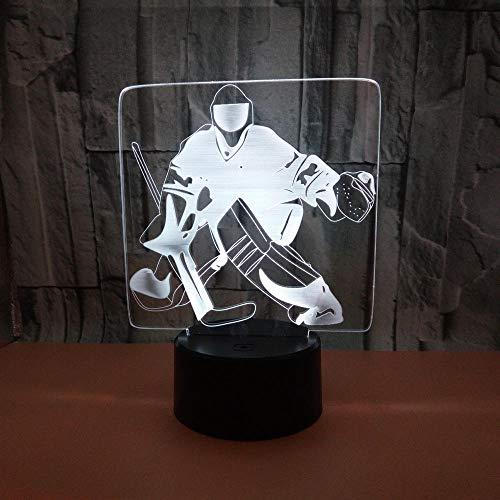 3D-Hockey-Spieler-Nachtlicht, 3D Eishockey-Spieler-Illusionslampe, 16 Farbwechseldekor-Lampe Mit Fernbedienung FüR Wohn-Bett-Zimmer-Bar Beste Geschenk-Spielzeug