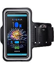 CoverKingz Sportarmband voor Sony Xperia 10 III - armtas met sleutelvak Xperia 10 III - sport looparmband mobiele telefoon armband zwart