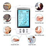 Electroestimulador TENS y electroestimulación muscular, 16 Modos 2 Canales USB Recargable Masajeador Electro para el Cervical/Piernas/Abdominal/Espalda/Cuello