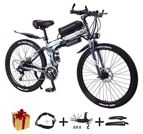 BIKE Electric Mountain Bike, Folding E-Bike - 26 inch Wheel Electric Bike Aluminum Alloy 36V Mountain Cycling Bicycle, Shimano 21-Speed for Adults White-50Km,90Km