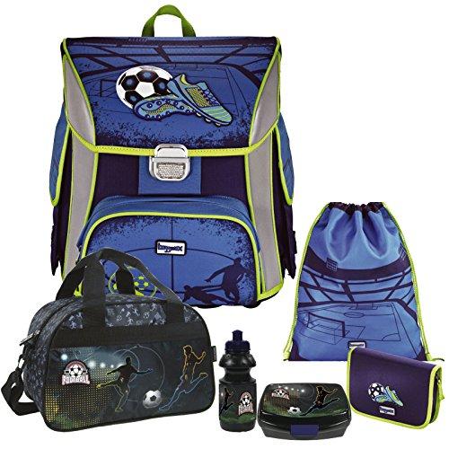 Soccer Blue - Fußball Football - Leicht-Schulranzen Set Ranzenset Baggymax SIMY Hama 6tlg. mit SCHULSPORTTASCHE, BROTDOSE und TRINKFLASCHE