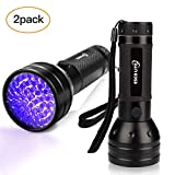 ESCO LITE 2 Pack UV Flashlight Black Light, 51 LED 395nm Ultraviolet Blacklight Detector for Dry Pet Urine and Bed Bug, Matching with Pet Odor Eliminator