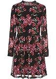 bonprix Mesh Kleid an den Ärmeln leicht transparent, mit Gummibund in der Taille schwarz/rosa Bedruckt 40/42 für Damen