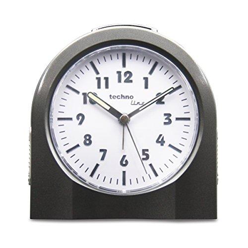 Technoline Quarzwecker Modell 3XL, extra groß, schleichender Sekundenzeiger, Weckalarm mit Schlummerfunktion, nachtleuchtende Zeiger