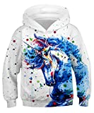 KIDVOVOU Kids 3D Unicorn Printed Pullover Hoodie Funny Sweatshirt for Boys Girls 4-16Y,Blue Paint Unicorn,6-8 Years