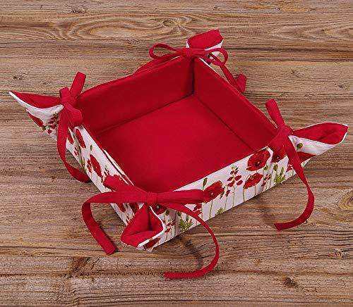 matches21 Brotkorb Stoff eckig zum Binden Landhaus Premium Marie einfarbig rot Mohn Blumen für Küche & Tisch 20x20 cm 1 STK
