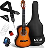 """Pyle 36"""" Classical Acoustic Guitar-3/4 Junior Size 6 Linden Wood Guitar w/Gig Bag, Tuner, Nylon Strings, Picks, Strap, For Beginners, Adults (Sun Burst), Right, (PGACLS82SUN.9)"""