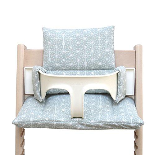 Blausberg Baby - BESCHICHTET - hochwertiges Tripp Trapp Sitz-Kissen Set für Stokke Hochstuhl - 2-teilige Auflage/Polster/Sitzverkleinerer für Kinderhochstuhl – DIVERSE FARBEN (Happy Star Grün)