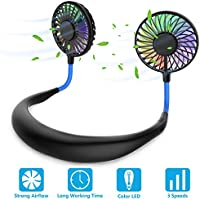 Ventilador Personal Portátil, Mini Ventilador de Manos Libres Mini Ventilador USB Recargable Ventilador de Banda para el Cuello, Ventilador de Refrigeración con Doble Cabeza de Viento (Azul Negro)