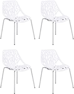 CangLong Set of 4 Modern Mid Century Plastic Shell Hollow Out Chair with Matal Legs for Living, Bedroom, Kitchen, Dining, Waiting Room, PCs Pack-Light, White 4