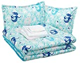 AmazonBasics Easy Care Super Soft Microfiber Kid's Bed-in-a-Bag Bedding Set - Full / Queen, Blue Mermaids