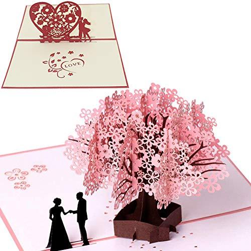 3D Grußkarte Pop Up Kirschblüte Liebhaber Hochzeitskarte Romantik Faltkarte Grußkarte Valentinstag Karte für Hochzeit Weihnachten Geburtstag Jubiläum Jubiläumskarte