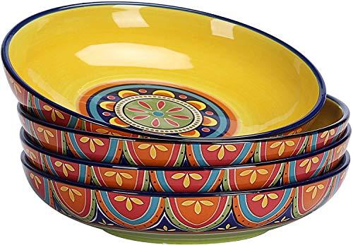 QPM - Tazones para Cena festoneados de cerámica con Flores Azules y Acuarela de 32 oz, Juego de 4, Vintage tunecino