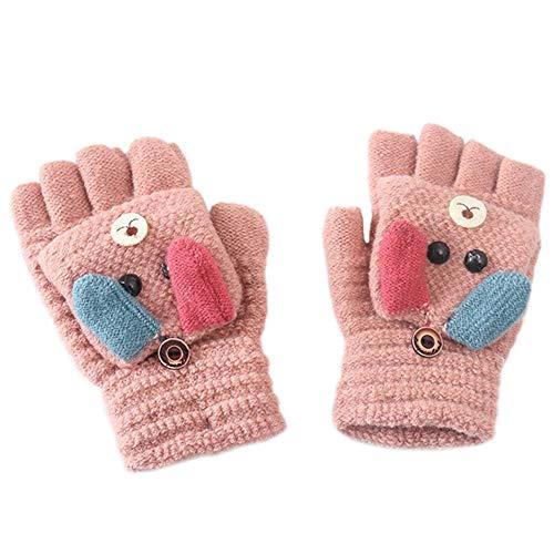MAGIMODAC Halbfinger Handschuhe mit Klappe Kappe Mädchen Jungen Winter Fäustlinge Strickhandschuhe Winterhandschuhe Fingerlos Kinder (Hündchen Altrosa)