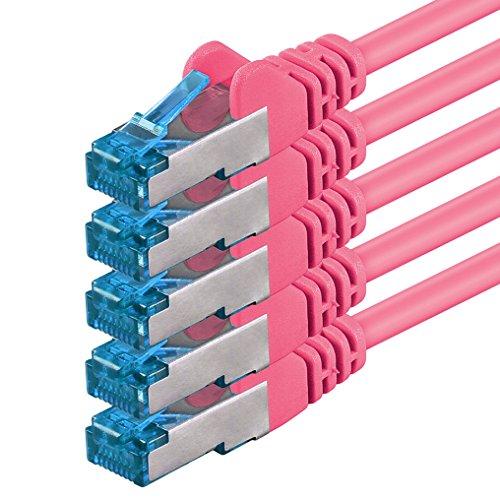1,5m Cable de Red, Cable Ethernet y LAN SFTP PIMF Cat6a - transmite hasta 10 Gigabit por Segundo y es Adecuado para switches, routers, módems con Entrada RJ45, Magenta - 5 Piezas