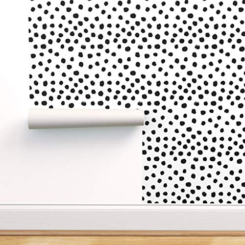 Peel-and-Stick Removable Wallpaper - Dots Black White Polka Dot Mod by Charlottewinter - 24in x 72in Woven Textured Peel-and-Stick Removable Wallpaper Roll