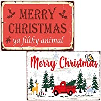 2個 面白いメリークリスマスツリー赤いトラックレトロなヴィンテージメタルティンサインリビングルームバー壁クリスマスの装飾クリスマスギフト装飾2PCS-8X12インチ メタルプレート レトロ アメリカン ブリキ 看板