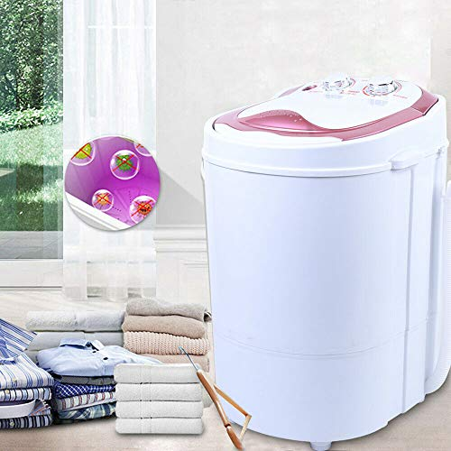 Aohuada Mini lavadora 2 en 1 para camping, deshidratación, 6 kg, portátil, secadora de 240 W, color oro/rosa