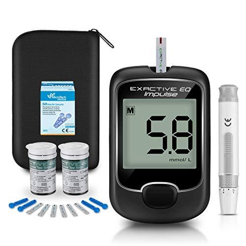 Blutzuckermessgerät, Diabetes-Testkit Blutzuckertester mit 50 codefreien Teststreifen und 50 Lanzetten - Diabetiker in mmol/l nach exaktivem EQ