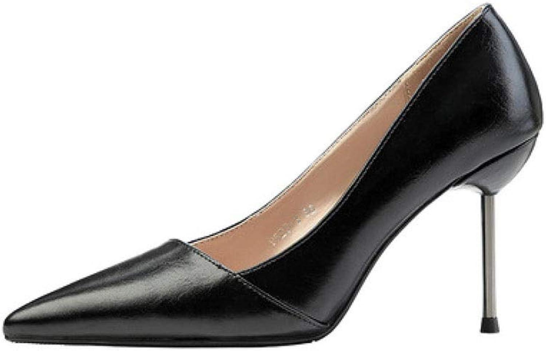 SXHDMY High Heel Rubber Women's Sexy Work shoes High Heels Single shoes High Heels 9CM 4 colors high Heels (color   Brown, Size   EU35 UK3 CN34)