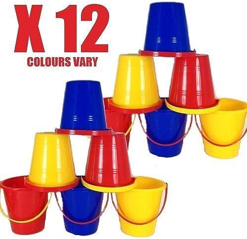 A2003 PARTY sac BUCKET 5 12.5cm Colour Choices Plastic plage bucket Shiny (A2003 PARTY sac x 12 BUCKETS 5 12.5cm Colours Vary) by TLP