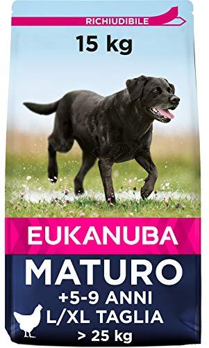 Eukanuba Cibo Secco per Cani Maturi e Anziani in Piena Forma di Taglia Grande, Ricco di Pollo Fresco, 15 kg