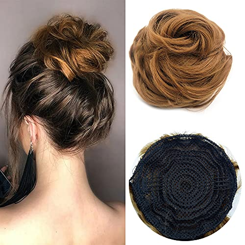 Brown Messy Buns Hair Piece Curly Bun Drawstring Ponytail Hair Scrunchies Synthetic Wavy Curly Chignon Updo Hairpieces for Women Girls(27#)