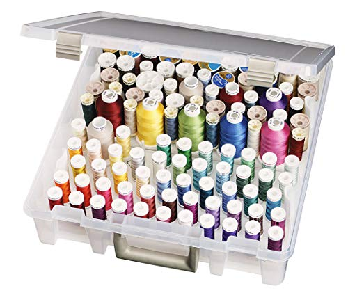 ArtBin Thread Box- Super Satchel Storage Container with two removable trays for thread spools, 9002AB