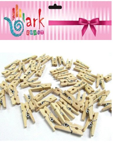 Ark Craft - 100 Pinzas pequeñas de Madera Natural