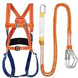 YWARX Arnés De Escalada, Cinturones De Seguridad para Mujer Y Hombre para Montañismo Alpinismo Expedición Escalada En Roca, Arnés Seguridad para Escalada,Double Big Hook buffered Set