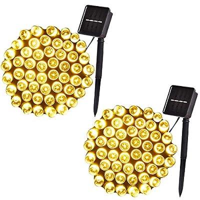 100-Led, 42ft Outdoor Solar String Lights, 8-Lighting Modes, Solar Christmas Lights for Garden, Christmas Tree, Wedding Decoration (2-Pack, Warm White)