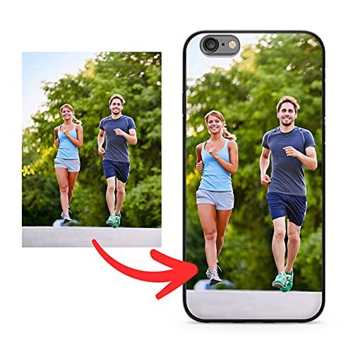 PixiPrints Personalisierte Foto-Handyhülle kompatibel mit Apple iPhone 6 / 6S // Schutzhülle aus schwarz-mattem Silikon // selbst gestalten mit eigenem Bild/Text/Logo // Hochwertiger Druck aus DE