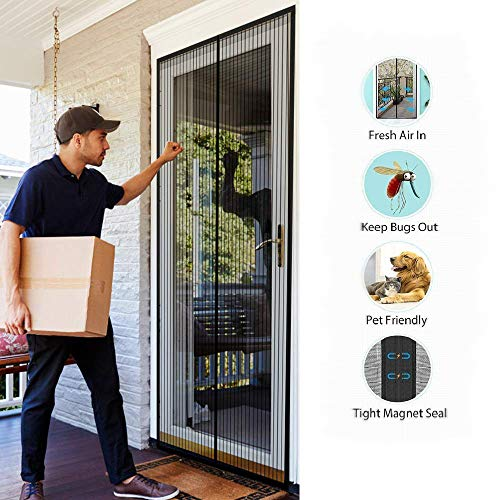 SODKK MagnetFliegengitterTürInsektenschutz 90x245cm, Insektenschutz Tür mit Klettband, Magnetverschluss, Klebemontage Ohne Bohren, für Flure/Türen - Schwarz