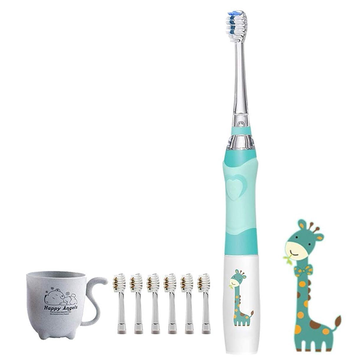 ホイスト質素な取り替えるLEDライト付き電動歯ブラシ6つの無料交換ブラシヘッド-1分あたり23000ストロークの高周波振動パワー歯ブラシ-防水