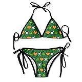 Cannabis Skull Heart Weed Frauen Sexy Tanga Weich Gepolsterter Bikini Set Zweiteilige Badeanzüge